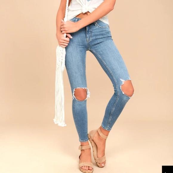 Free People Denim - Free people busted skinny jeans